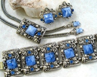 Vintage Selro Parure Marbled Blue Lucite Rhinestone Lady Heads Dragons Bracelet Bolo Necklace Earrings