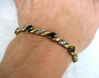 Vintage 925 Silver Bracelet Oval Garnet Rhinestones Gold Wash