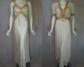 1940s Rayon Peignoir Set, 38, Medium Large, Champagne Ivory, New Old Stock, Nightgown, Robe