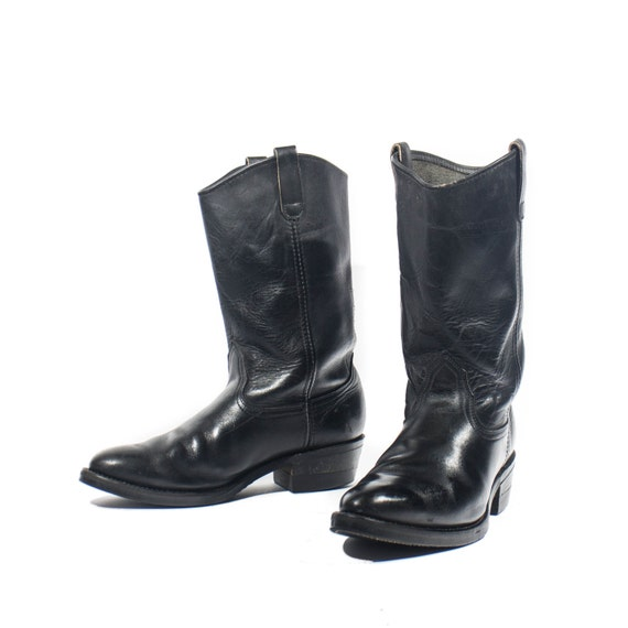 Vintage 70 S Mason Western Boot Black Leather Biker Boots