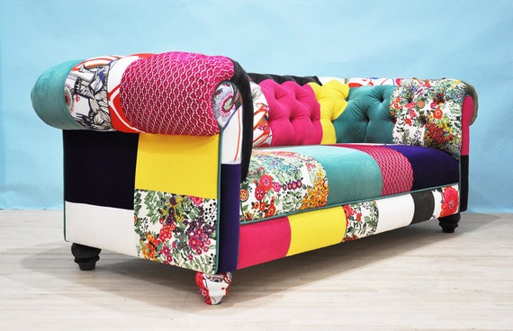 patch couleur canap patchwork chesterfield. Black Bedroom Furniture Sets. Home Design Ideas