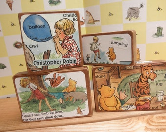 Four Big Vintage Inspired Wood Toy Blocks- Christopher Robin Gives Pooh a Party-Nursery Decor-Educational