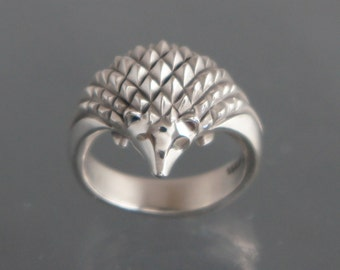 silver hedgehog ring