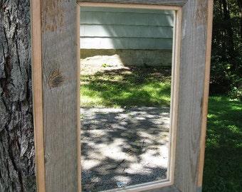 SOLD Handcrafted Medium Rustic Barnwood Mirror no.1410