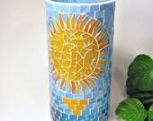 Stained glass mosaic vase or pillar candle holder orange turquoise sun