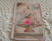 Shabby Chic Cards Birdcage  Pastel Pink Rose French Bird Cards Distress Party Favor Cards Bookmark Scrapbookin Thank You Cards