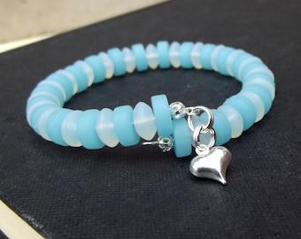 Blue Opal and Moonstone Cuff Bracelet:  Ocean Blue Sea Glass Wrap Bracelet, Silver Heart Charm, Something Blue Beach Wedding Jewelry