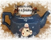 EPATTERN, Winter Tea, snowman, sheep, teapot, painting pattern, Digital download