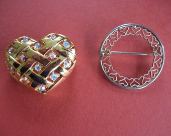 Two for One Heart Brooches