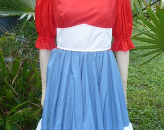 50s 60s Rockabilly lolita Red White Blue square dance 1 piece dress Size M by KitKatCabaret on Etsy