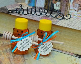 First Birthday Honey Favors,  60 Mini Bears, Mini Dippers & Tags