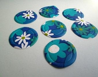 Vintage Plastic Coasters. Mod, pop, Mid century, Eames Panton era. 1970's. Tourquoise Blue Flower Power