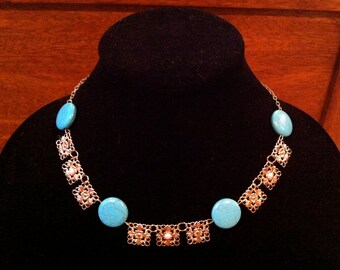 The Tudors Katherine Howard Turquoise and Gold Necklace - Tudor