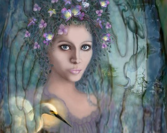 Harmony...Digital Painting, Print, Home Decor, Nature, Beautiful Woman