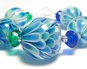 Lampwork Beads Set in Blue and Green - Handmade by Lyn Gutteridge - FHFteam Y3
