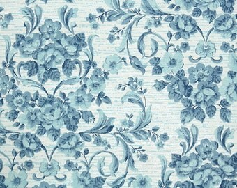 Retro Wallpaper by the Yard 70s Vintage Wallpaper - 1970s Blue Rose Floral Damask
