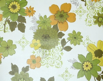 Retro Wallpaper by the Yard 70s Vintage Wallpaper - 1970s Green Yellow and Orange Floral on White