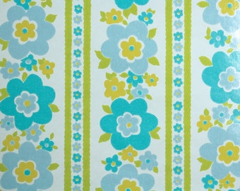 Retro Wallpaper by the Yard 70s Vintage Wallpaper - 1970s Aqua Blue Floral Stripe with Green