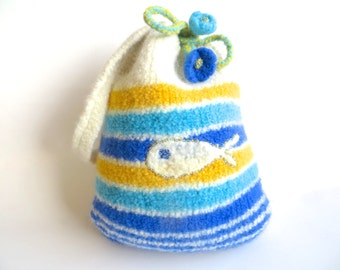 """Felt bag/Felt pouch """"Baleia"""", pure wool, crocheted, felted, cerulean, blue, white, turquoise, sunny yellow, whale, fish, OOAK, one of a kind"""