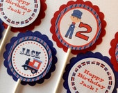 Train Themed Birthday Party - Cupcake Toppers - One Dozen