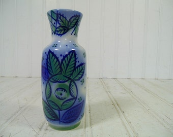 Vintage Beriozka Hand Painted Flow Blue Style Ceramic Vase - Retro Mid Century Cold War Era Petite Pottery Piece - Made In USSR Maker's Mark