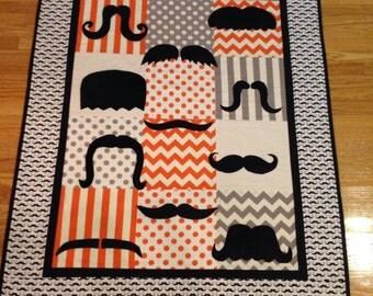 Mustache Baby Blanket