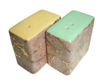 Dinky Modern Ceramic Salt & Pepper Pots / Shakers / Cellars. Coral Gold flock Marble Mint Buttercup