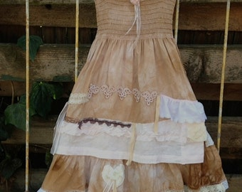 CUSTOM example flower girl bridesmaid hand dyed brown Prairie shabby boho Ecru Lace gypsy dress