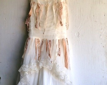 CUSTOM EXAMPLE shabby cowgirl rustic ecru lace romantic summer romance bride lace vintage eco ecru prairie girl dress wedding