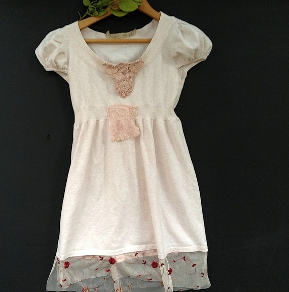 winter soft prairie girl soft pink Lace romantic Latte blouse rustic creamy Eco baby doll Lace roses shirt top