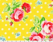 Flower Sugar Spring 2013 by Lecien - Roses with White Dots on Yellow 30747 50