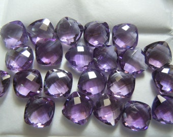 Amethyst  Quartz Cushion Cut Briolette 10x10MM 20Pc AAA High Quality Eye Clean  Wholesale Price