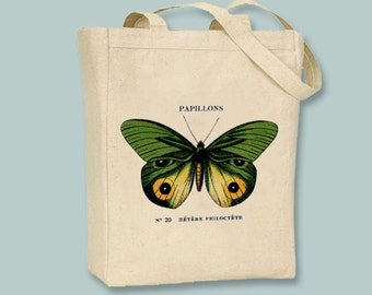 Vintage French Green and Yellow Papillons Butterfly Canvas Tote - Selection of sizes available