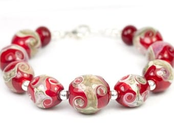 Shores of Desire - Handcrafted Sterling Silver Lampwork Glass Beads by Clare Scott SRA Red Beach