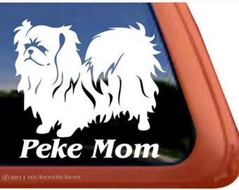 "Peke Mom - Pekingese   DC550MOM   High Quality Adhesive Vinyl Window Decal Sticker - 5"" tall x 5.5"" wide"