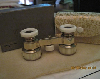 Antique Vintage Mother of Pearl Opera Glasses w/ Case in Original box