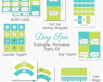 Spa Birthday Party Printables, Girl's Birthday Party Supplies, Teal and Lime Green, Bridal Shower  -- Editable, Printable, Instant Download