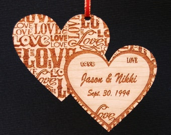 LOVE, Heart Ornament, Custom Ornament, Personalized Ornament, Wood Ornament, Wedding Ornament