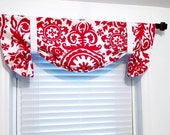 Custom TIE UP  Valance Red White Suzani Lined Window Treatment