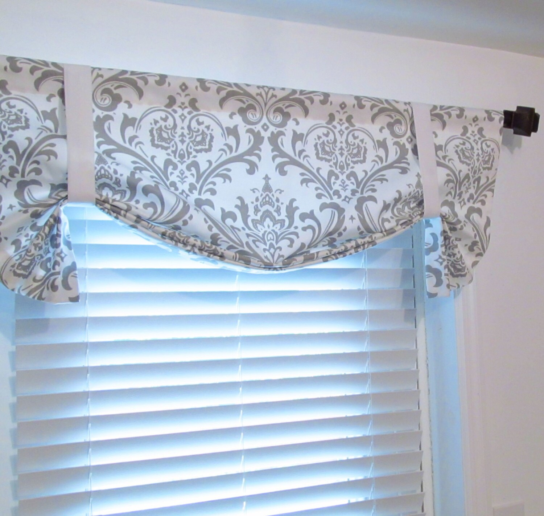 tie up lined valance white storm grey damask custom sizing. Black Bedroom Furniture Sets. Home Design Ideas