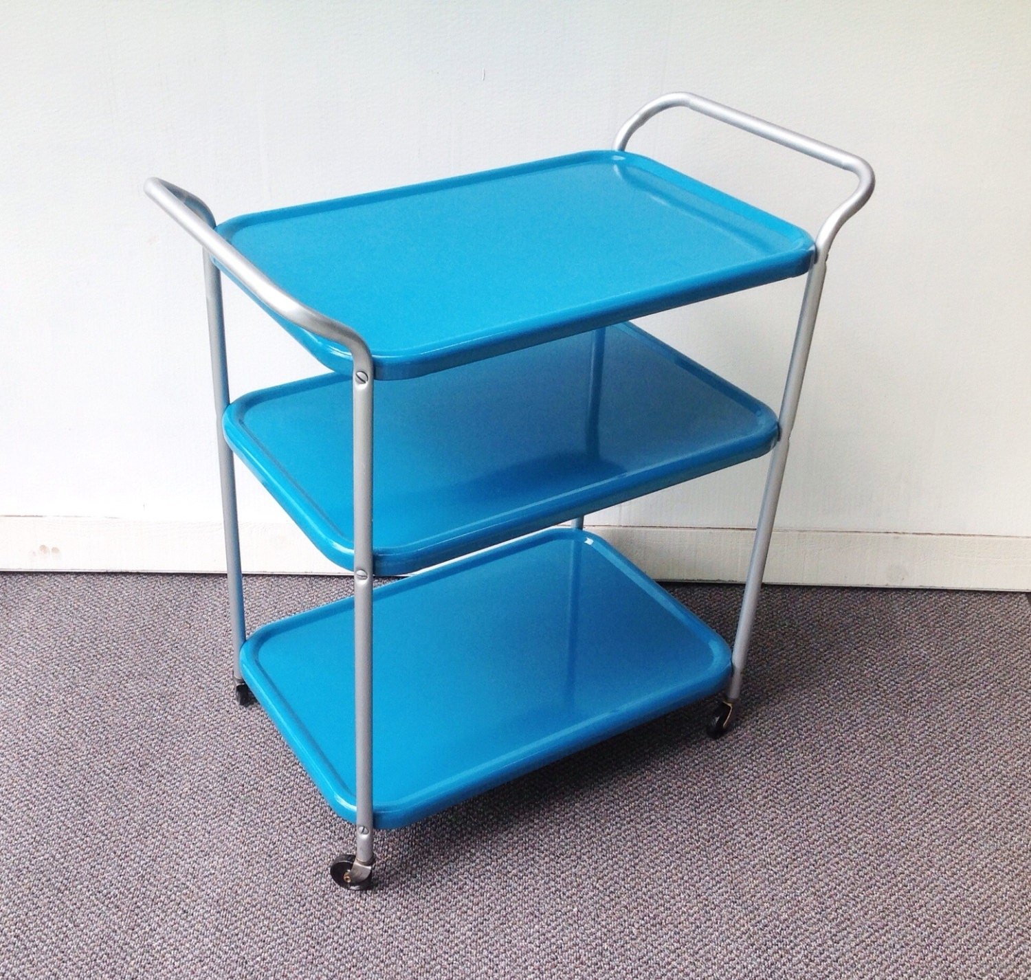 Turquoise Metal Kitchen Cart Vintage Rolling Kitchen Cart