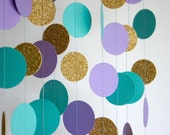 Paper Garland in Lavender, Teal and Gold, Mermaid Party, Bridal Shower, Baby Shower, Party Decorations, Birthday Decor