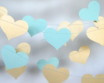 Gold and tiffany blue heart paper garland turquoise and for Arland decoration