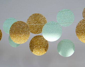 Gold and Mint Circle Glitter Paper Garland, Bridal Shower, Baby Shower, Party Decorations, Birthday Decoration, Mint Gold Party