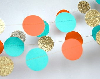 Paper Garland in Turquoise, Orange and Gold, Double-Sided, Bridal Shower, Baby Shower, Party Decorations, Birthday Decor