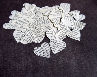 200 Vintage Shakespeare Hearts, Die Cuts, Party Decor, Weddings, Confetti, Love, Romance