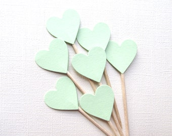 24 Mint Heart Cupcake Toppers, Party Decor, Double-Sided, Weddings, Showers, Spring, Summer, Love