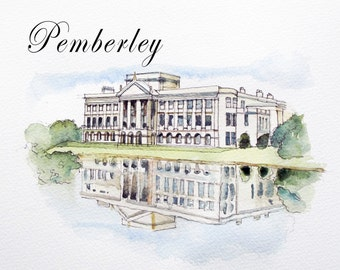 Houses From Jane Austen Books Print a Giclee From Original Watercolour