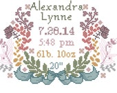 Counted Cross Stitch Baby Girl Birth Record Floral Wreath Ribbon with Name and Birth Stats