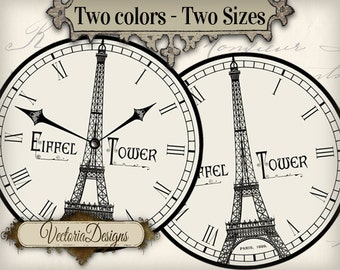 Paris Clocks clock images with without handles instant download digital collage sheet VD0681